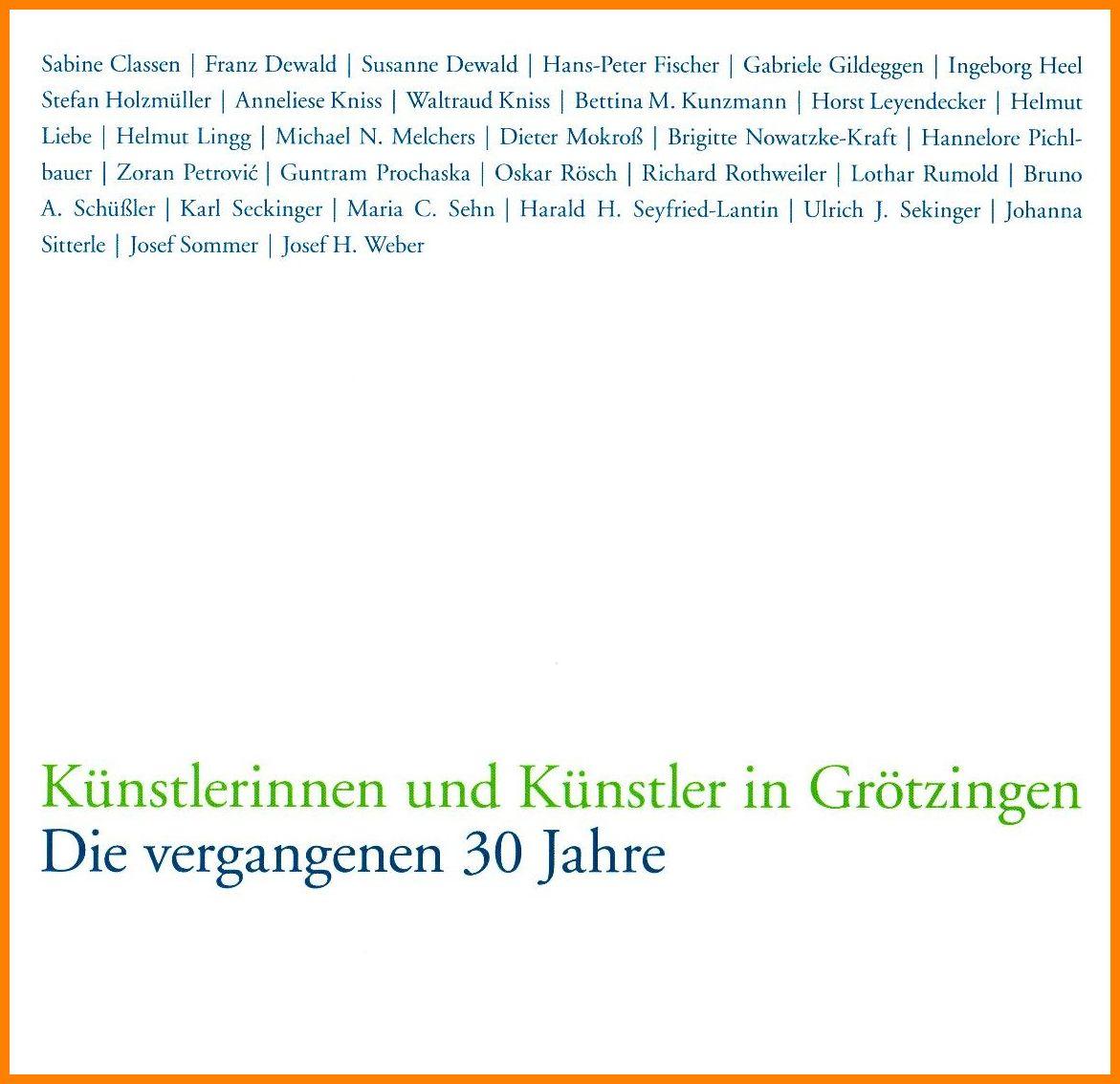 """Monographie """"Künstlerinnen und Künstler – die vergangenen 30 Jahre"""""""